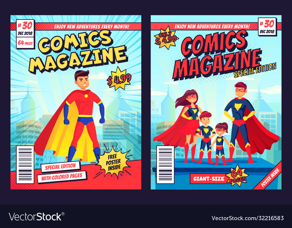Comic book cover with super hero man and family