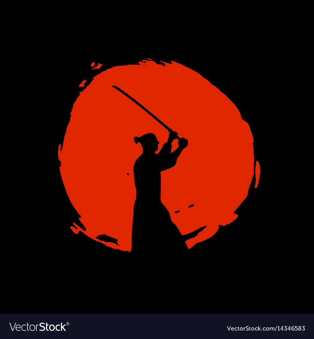 Japanese samurai warriors silhouette