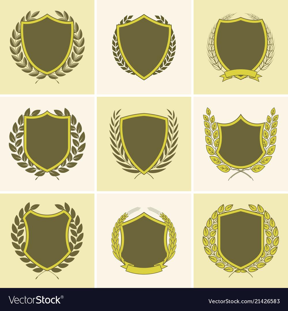 Laurel wreath badges templates