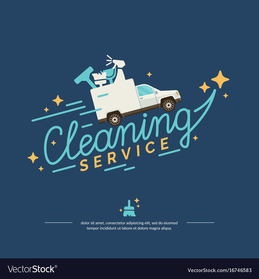 Logo for a cleaning service with car