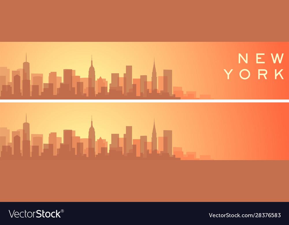 New York City Beautiful Skyline Scenery Banner Vector Image