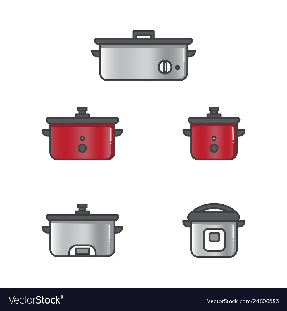 Set of slow cooker for rice and other food in