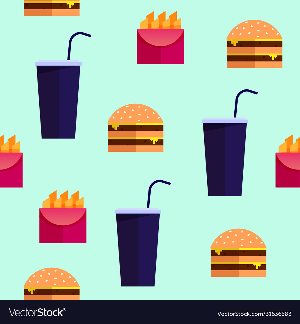 Street food fastfood seamless pattern
