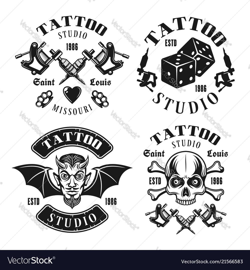 Tattoo studio four black vintage emblems