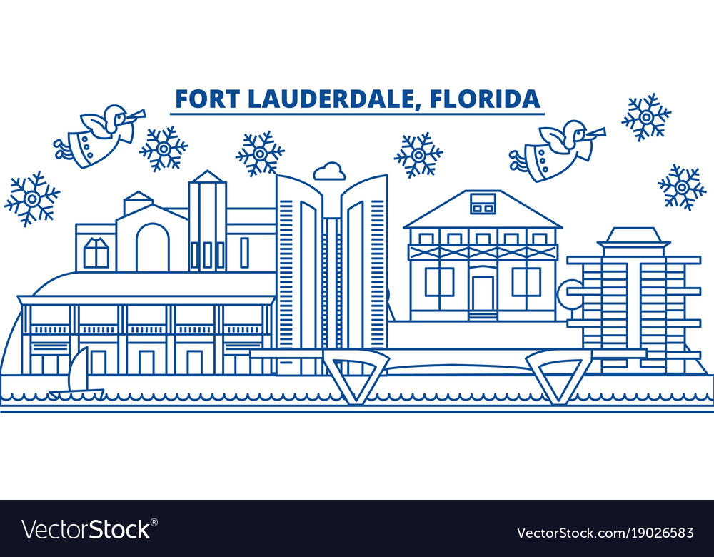 Usa florida fort lauderdale winter city skyline vector image
