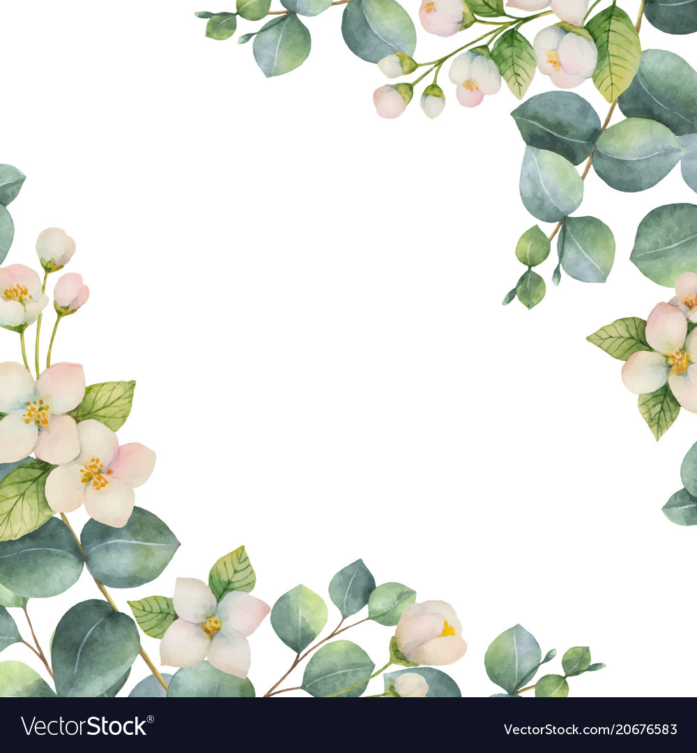 Watercolor green floral card with