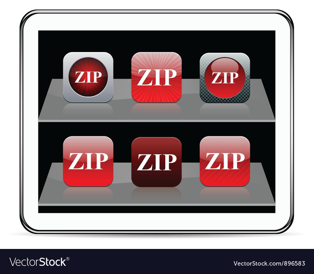 ZIP red app icons vector image