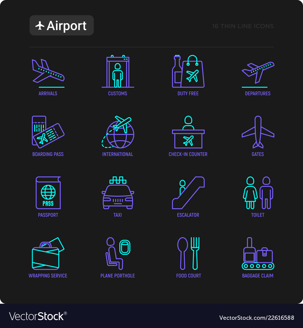 Airport thin line icons set