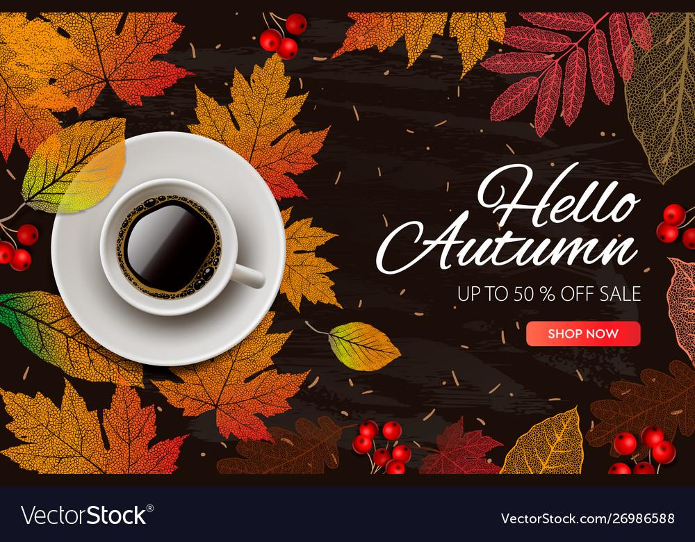 Autumn sale fall season sale and discounts banner