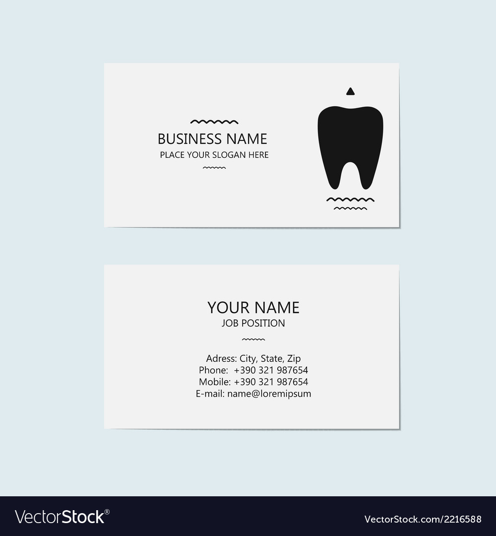 business card for a dentist vector image - Dentist Business Card