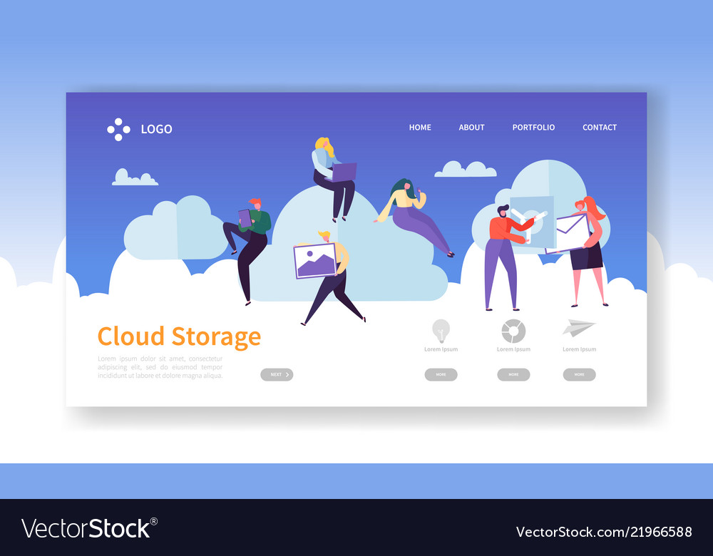 Cloud storage technology landing page template