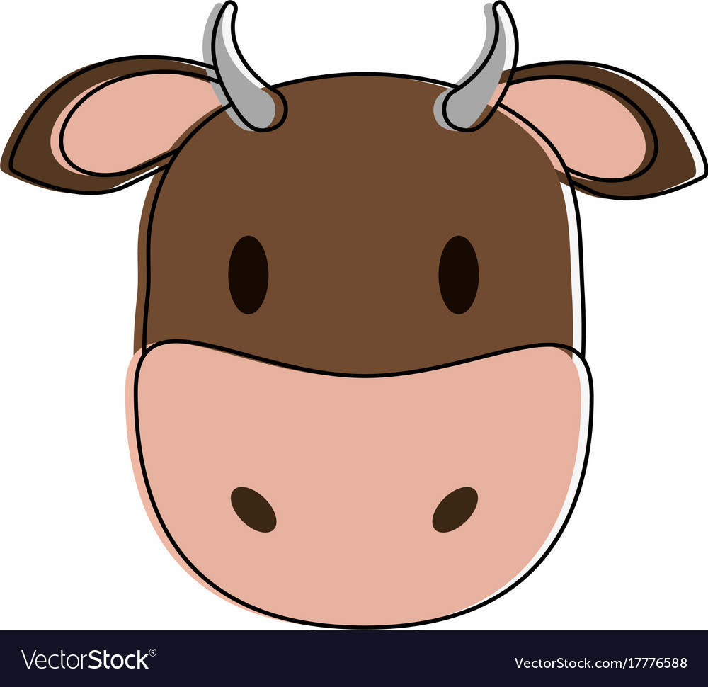 Cow or bull animal face cartoon icon image Vector Image
