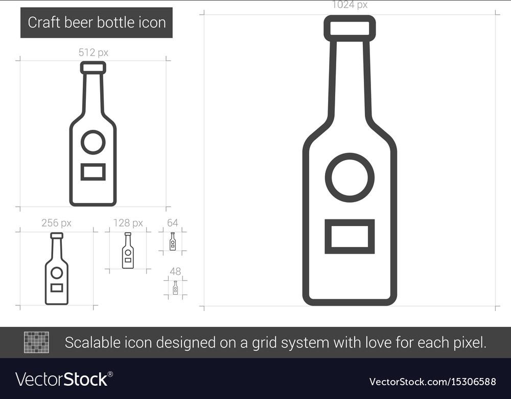 Craft beer bottle line icon