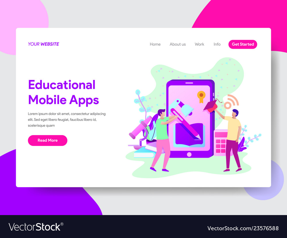 Educational mobile apps concept