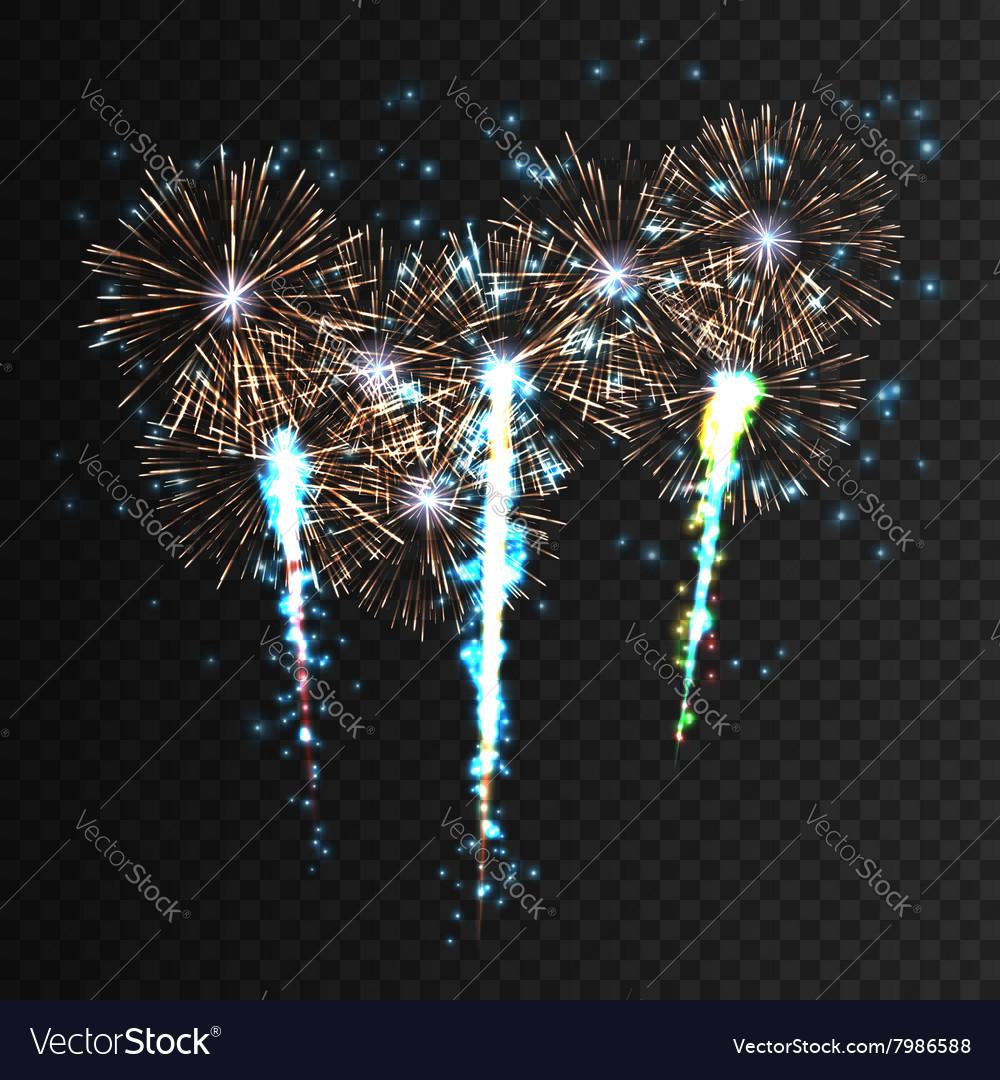Festive patterned firework explosion in various