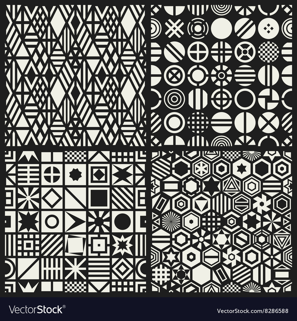 Geometric seamless patterns set vector image