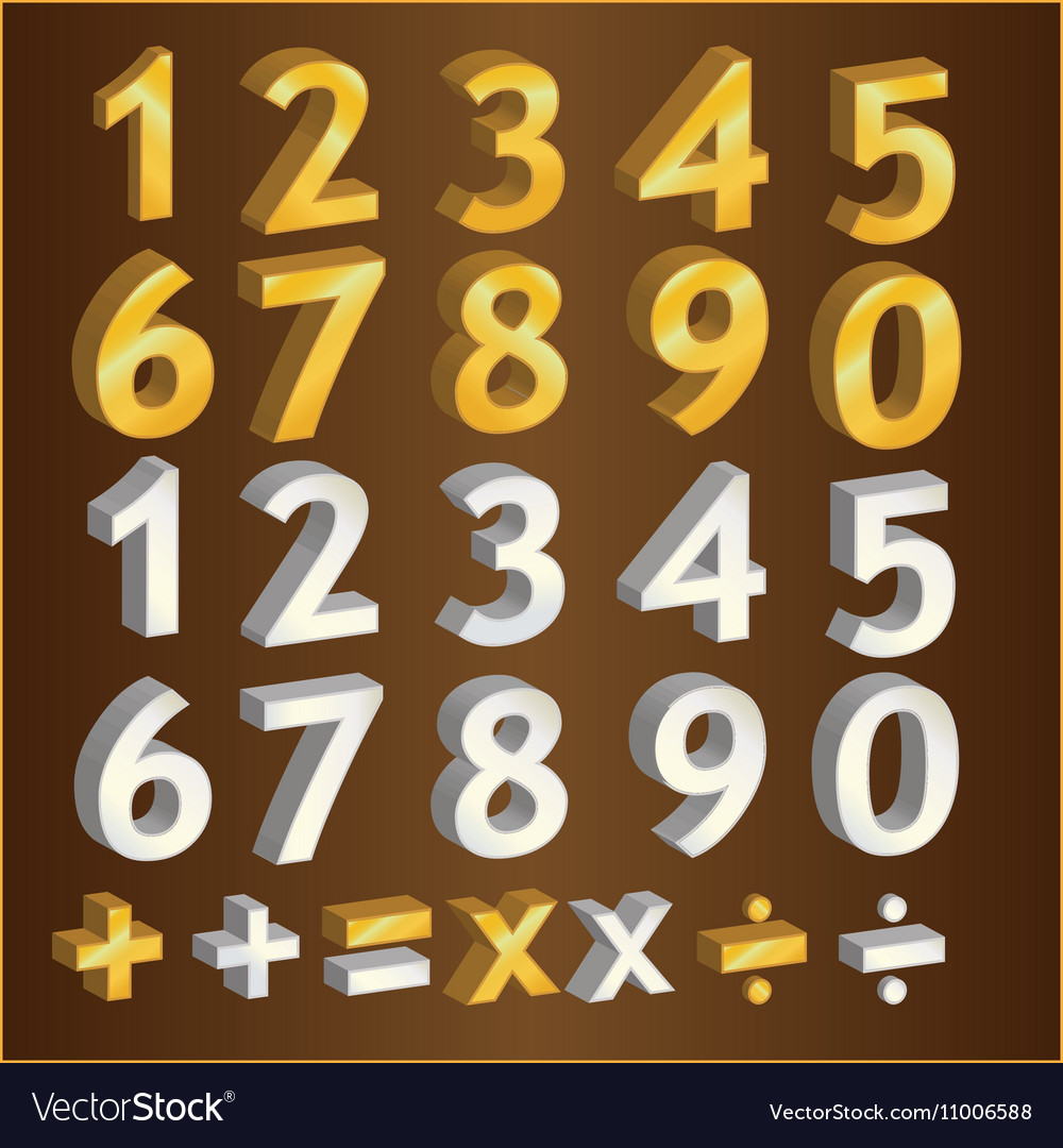 Gold number and silver number design vector image