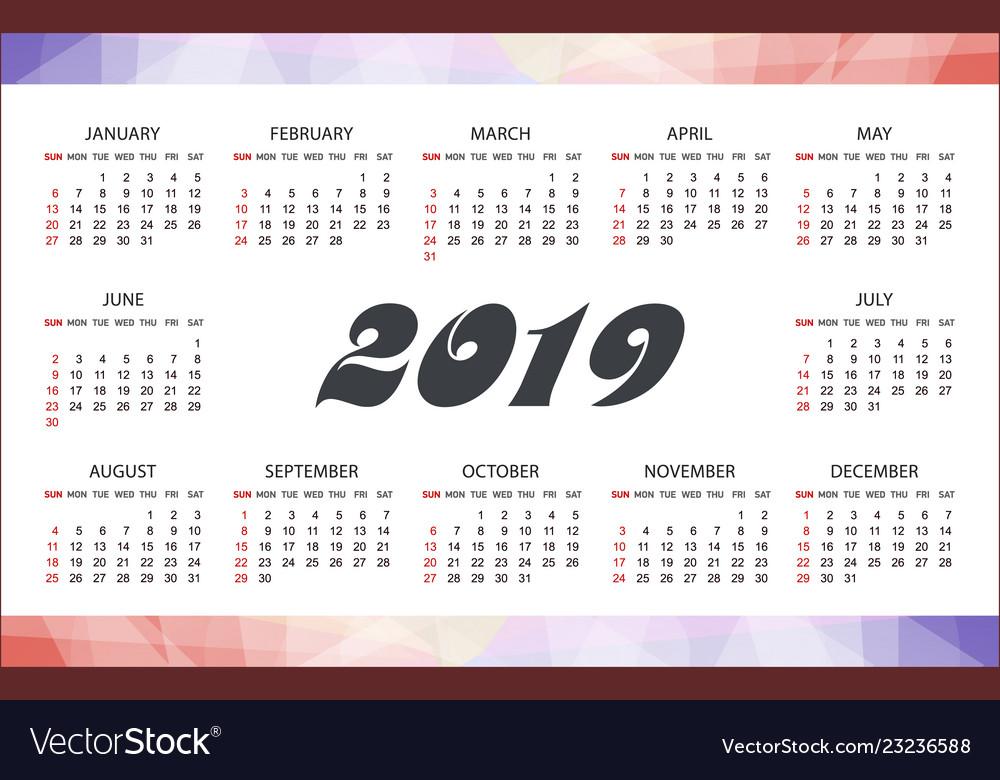 Horizontal modern calendar template for 2019 years