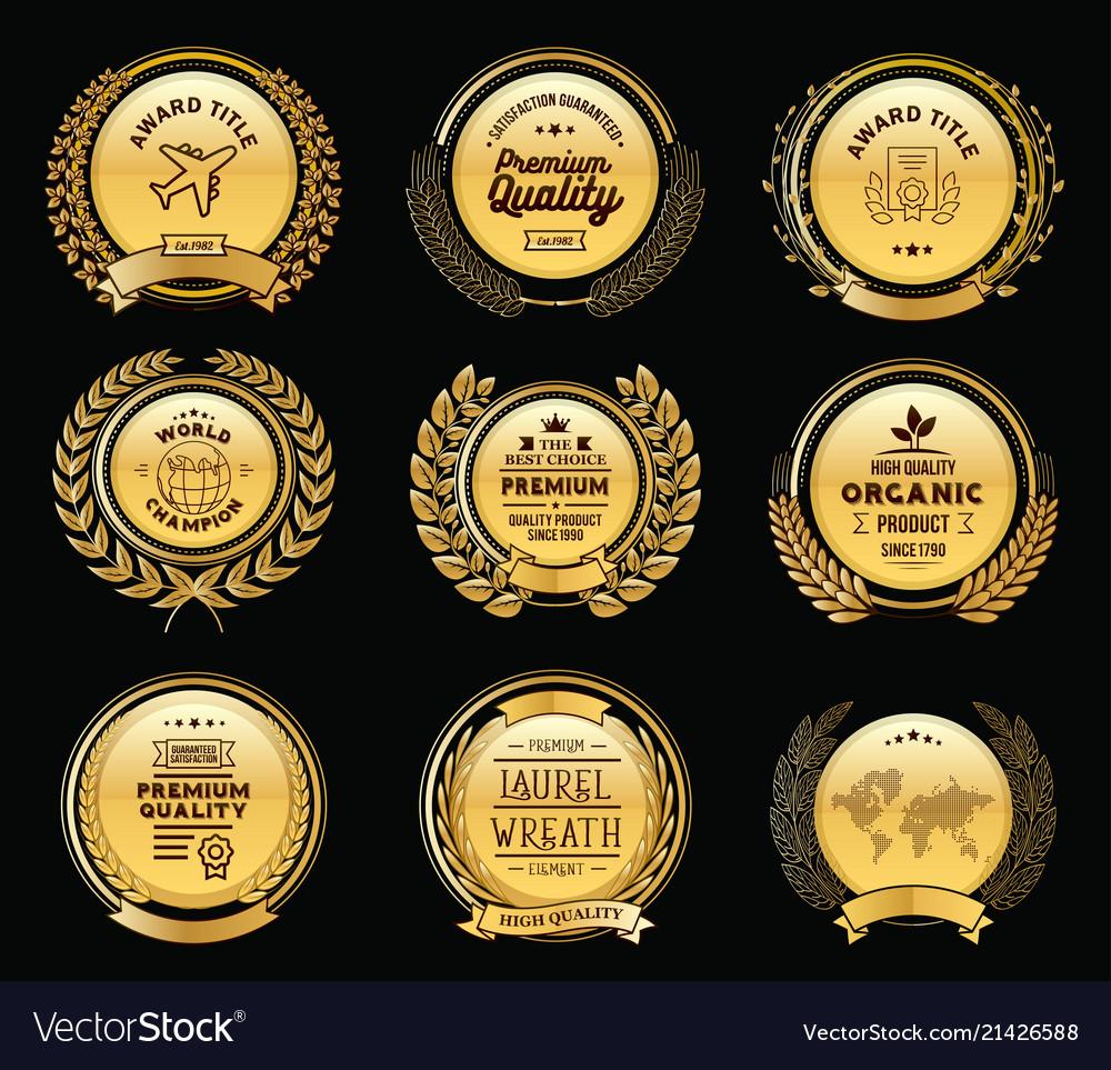 Luxury golden badges laurel wreath templates