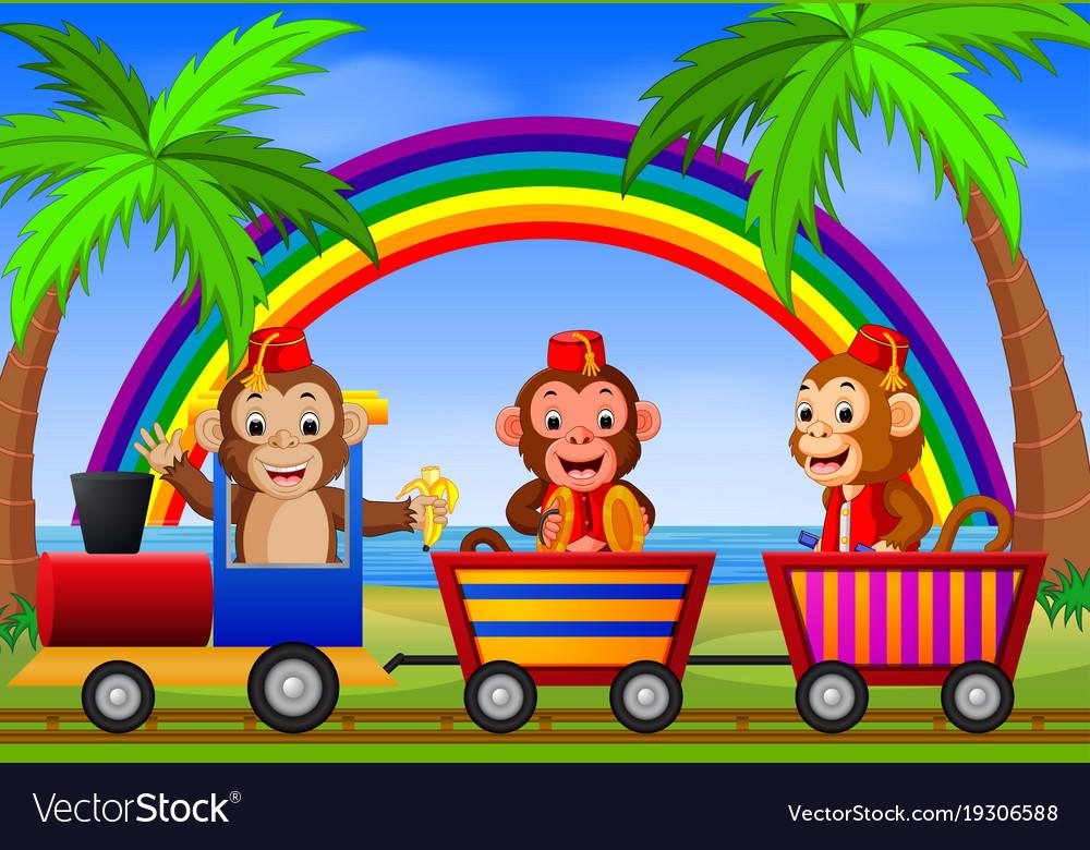 Monkey on the train with rainbow