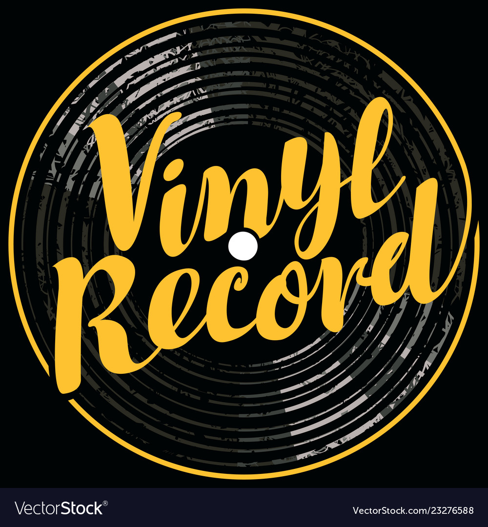 Music poster with vinyl record in retro style