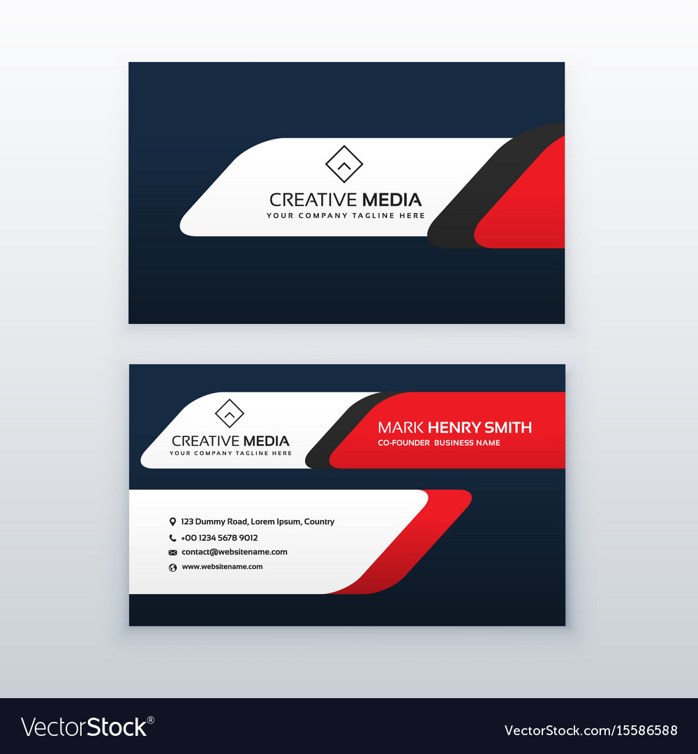Professional Business Card Design Template In Red Vector Image - Professional business card design templates