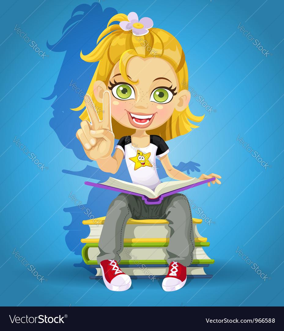 Schoolgirl read on a pile of books