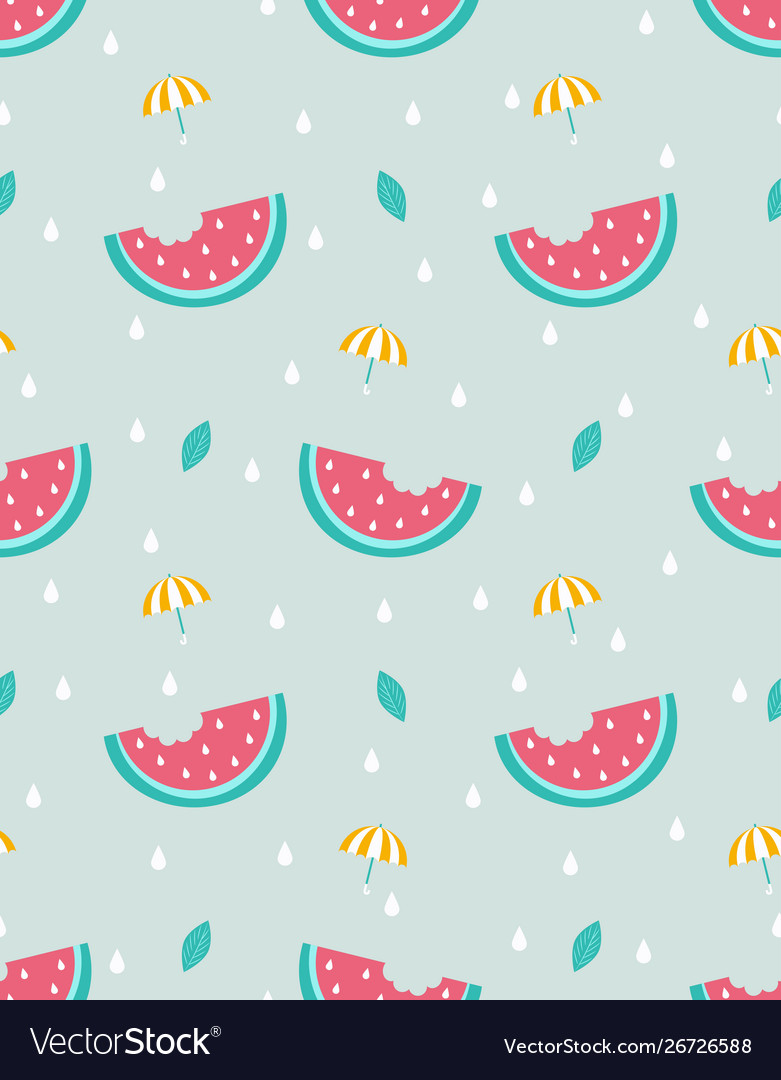 Seamless pattern with watermelon and umbrella