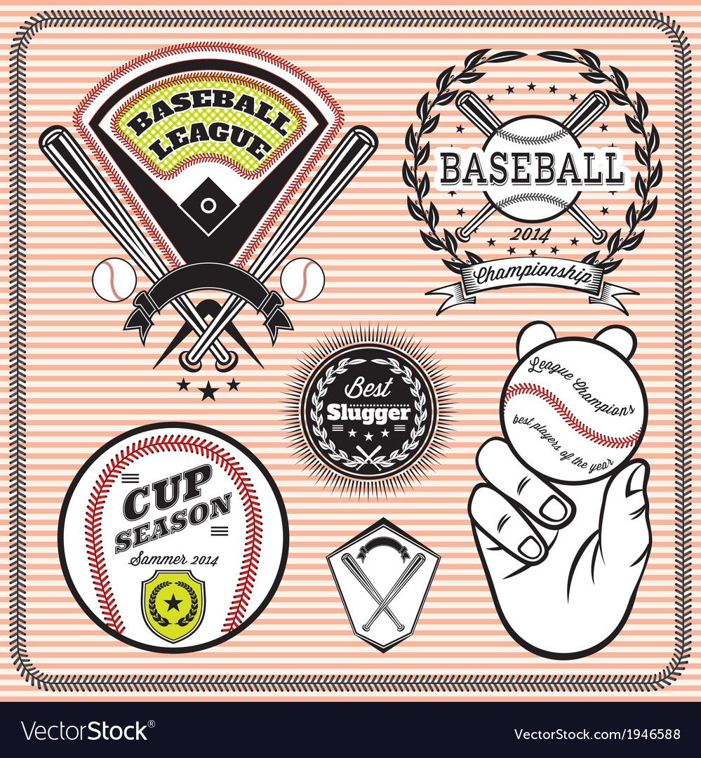 Set emblems and signs for baseball