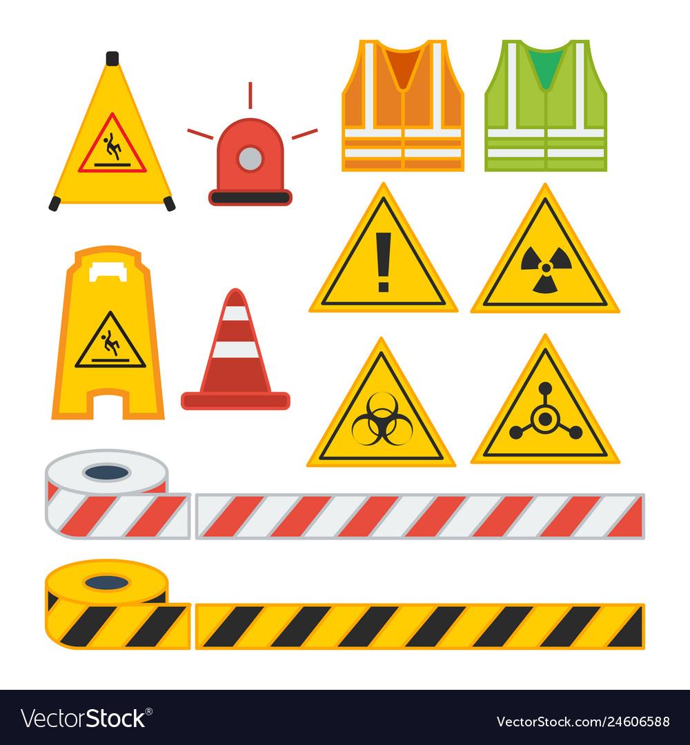 Set of caution sign for safety equipment vest