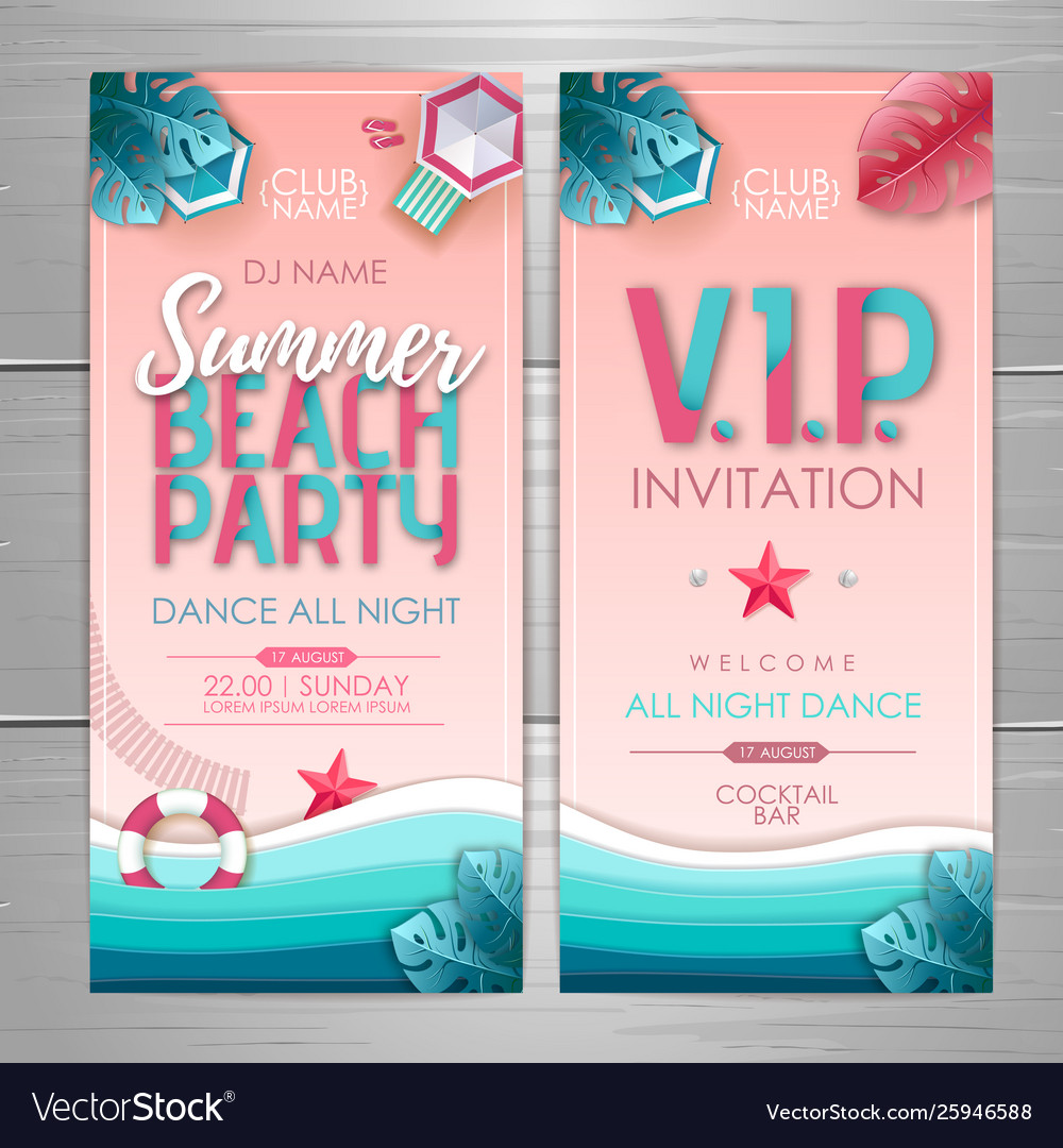 Summer party poster design disco party invitation