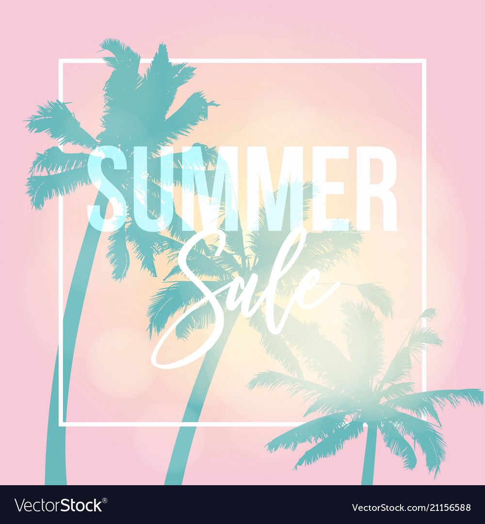 Summer sale poster web banner silhouette of