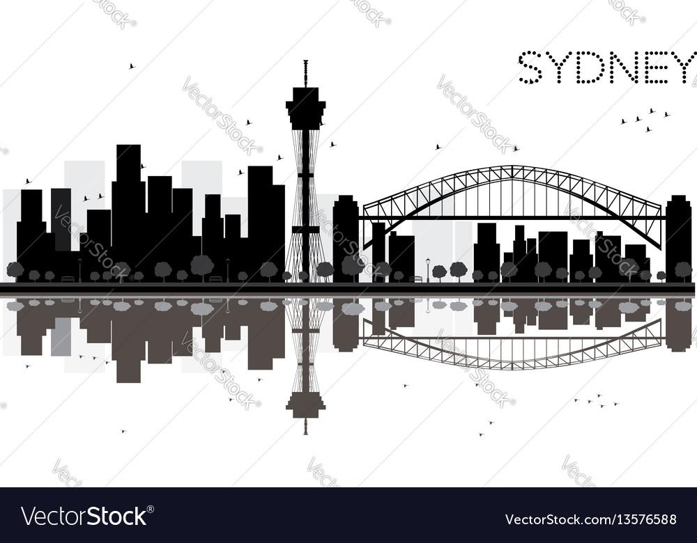 Sydney city skyline black and white silhouette