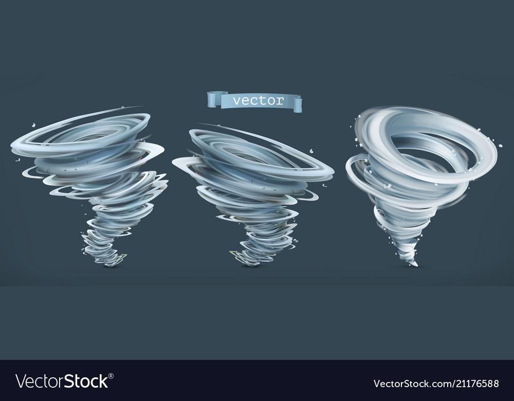 Tornado hurricane on a dark background 3d icon set