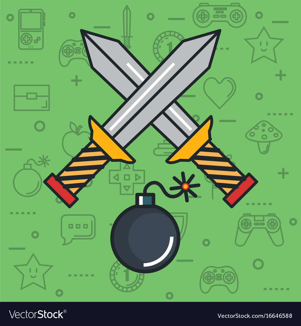 Video Game Crossed Sword Bomb Weapon Button Object Vector Image