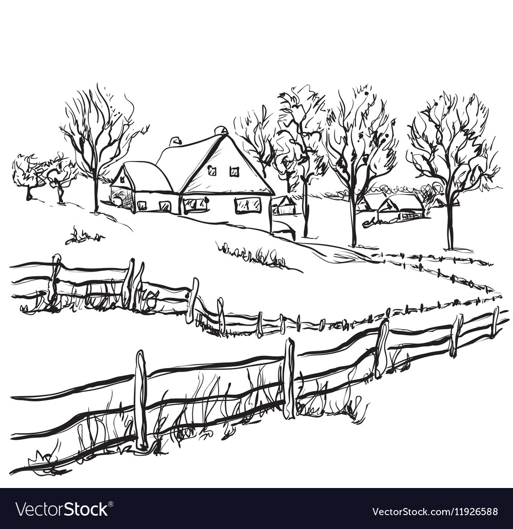 Winter background house in the snow landscape