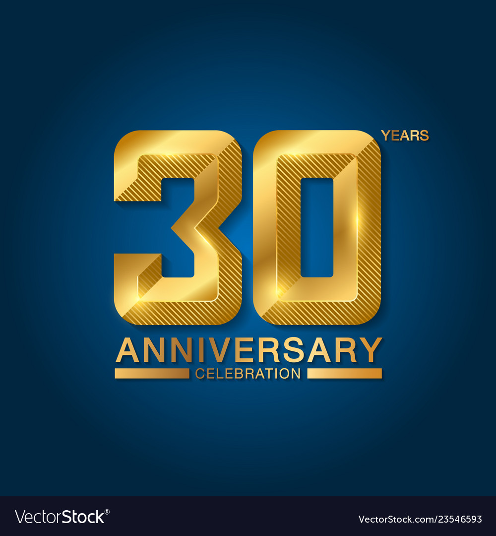 30 years anniversary celebration logotype golden