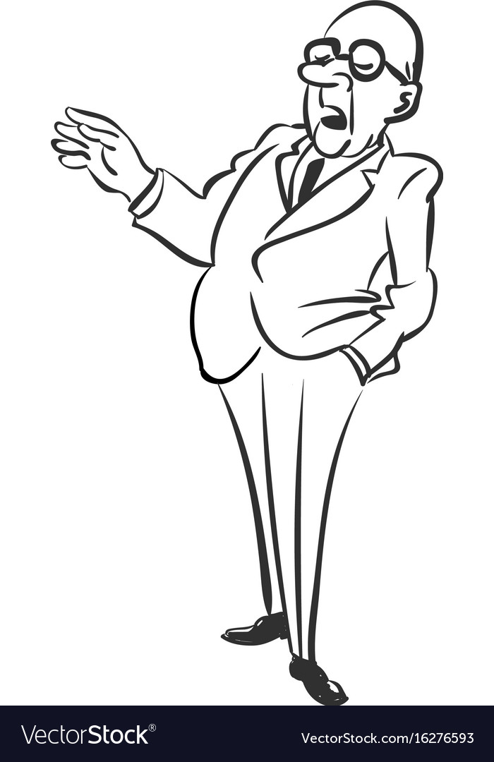 Business man standing in dark suit with hand in vector image