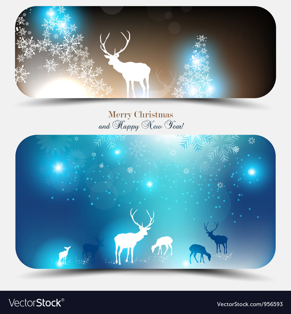 Christmas banners with deers vector image