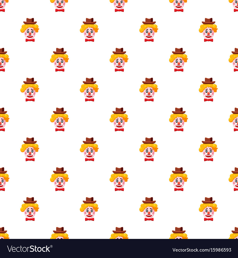Clown face with hat pattern Royalty Free Vector Image 73180d7ccc0