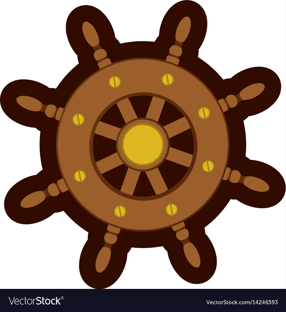 Colorful silhouette of boat helm with thick vector image