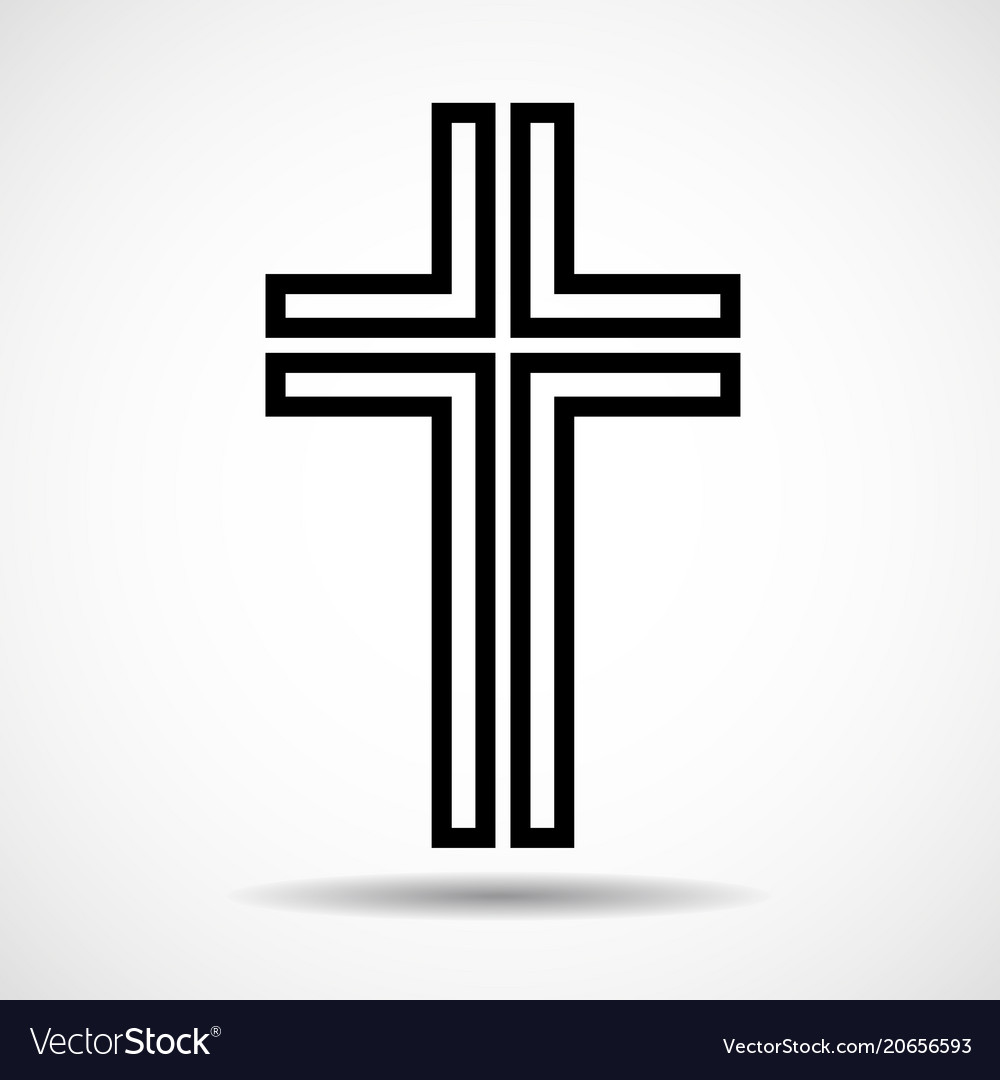 Cross Christian Symbol Sign Of Lines Royalty Free Vector