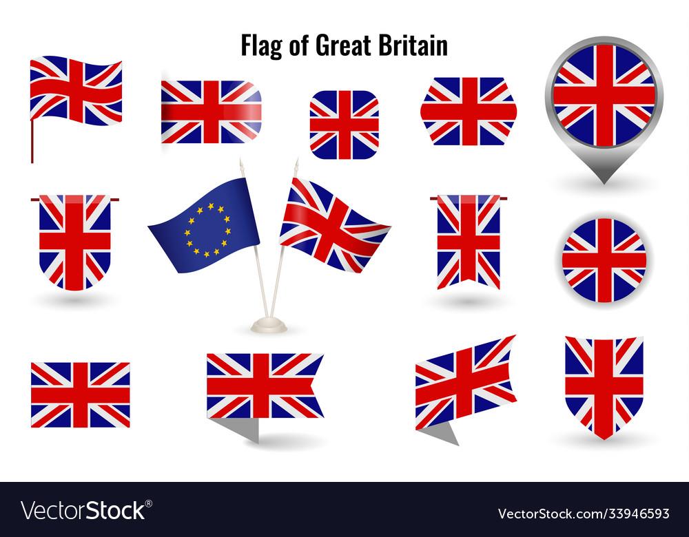 Flag great britain big set icons