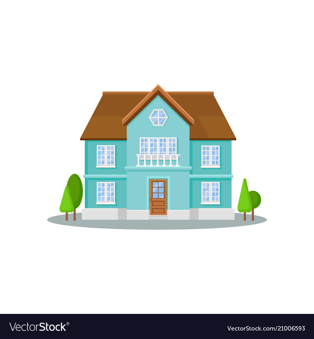 Flat icon of three-storey house with big