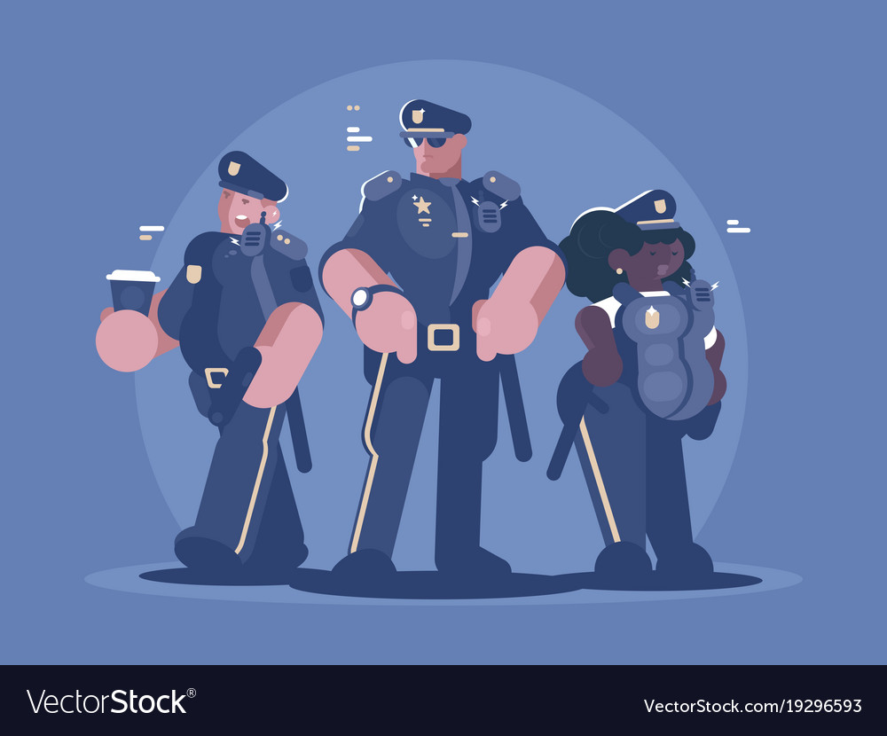 Group of police man and woman