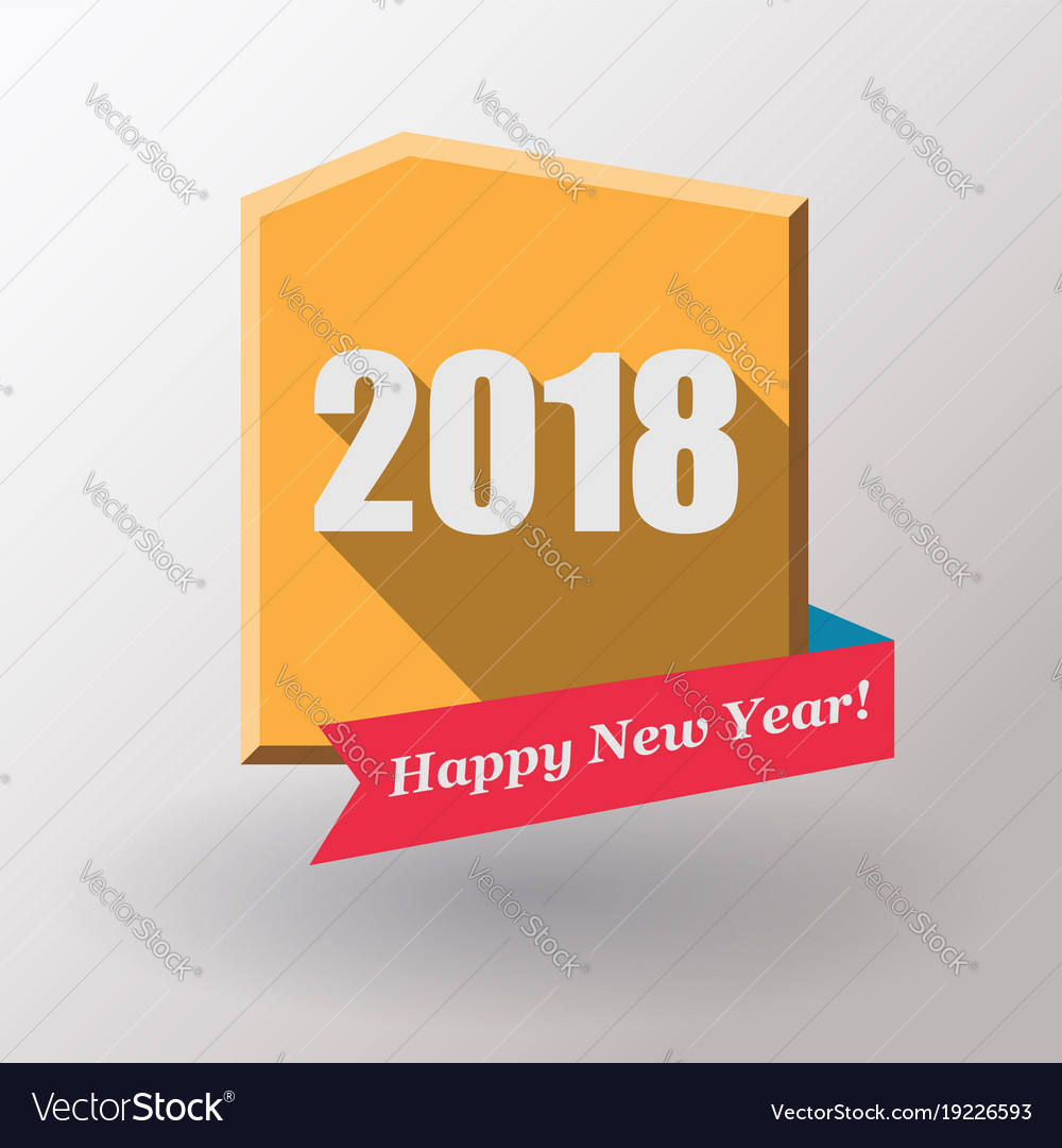 Happy new year 2018 flat label and stamp vector image on VectorStock