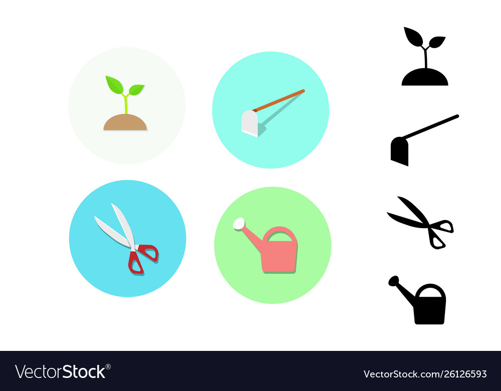 Icon for gardening plant hoe scissors watering