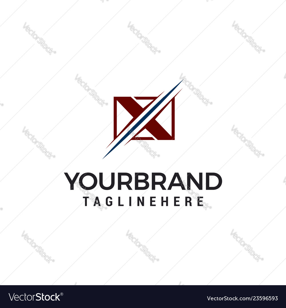 Letter x square logo template design