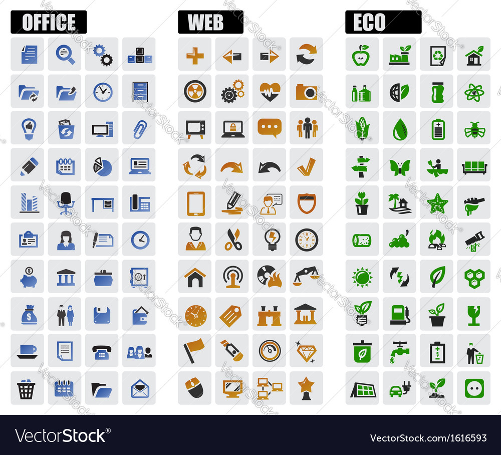 Office web and eco icons vector image