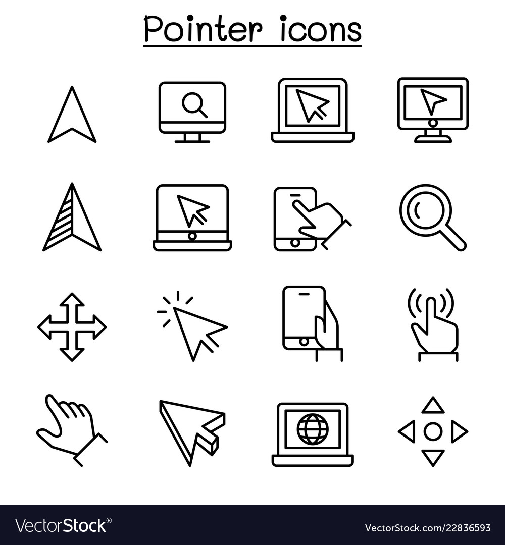 Pointer cursor icon set in thin line style